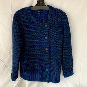Theory Blue & Black Wool Button Up Sweater